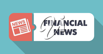 Financial News Concept in Flat Design with Long Shadows on Blue Background.