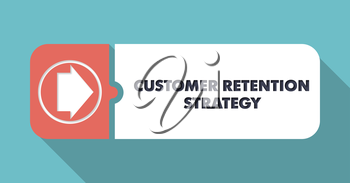 Customer Retention Strategy Button in Flat Design with Long Shadows on Turquoise Background.