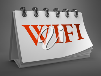 WiFi - Red Text on White Desktop Calendar Isolated on Gray Background.