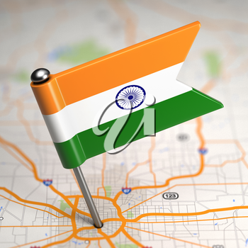 Small Flag of Republic of India on a Map Background with Selective Focus.