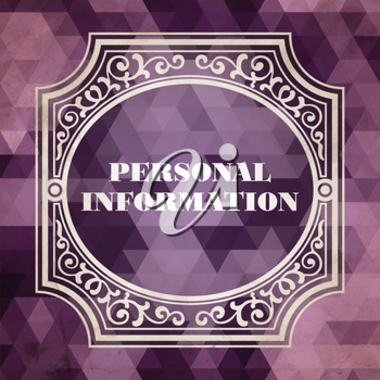 Personal Information Concept. Vintage design. Purple Background made of Triangles.