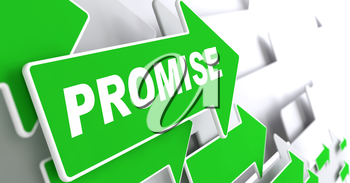 Promise Concept. Green Arrows on a Grey Background Indicate the Direction.