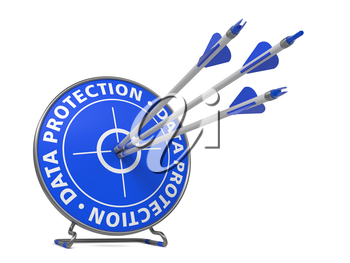 Data Protection Concept. Three Arrows Hit in Blue Target.
