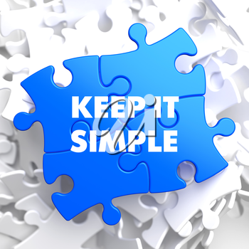 Keep It Simple on Blue Puzzle on White Background.