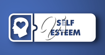 Self Esteem Concept. White Button on Blue Background in Flat Design Style.