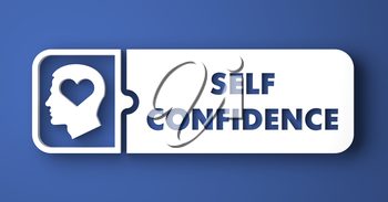 Self Confidence Concept. White Button on Blue Background in Flat Design Style.