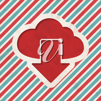 Cloud Concept on Red and Blue Striped Background. Vintage Concept in Flat Design.