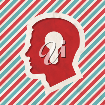Profile of Head with a Keyhole Icon on Red and Blue Striped Background. Vintage Concept in Flat Design.