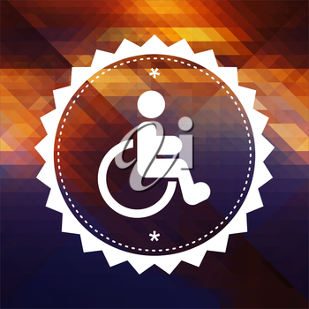 Disabled Icon. Retro label design. Hipster background made of triangles, color flow effect.