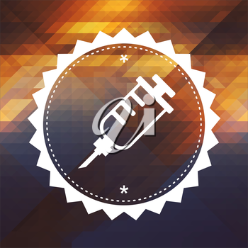 Syringe Icon. Retro label design. Hipster background made of triangles, color flow effect.