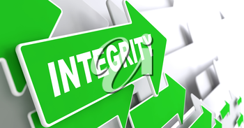 Integrity. Green Arrows with Slogan on a Grey Background Indicate the Direction.