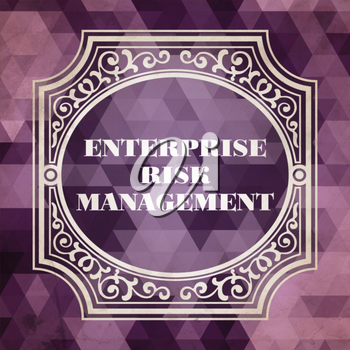 Enterprise Risk Management Concept. Vintage design. Purple Background made of Triangles.