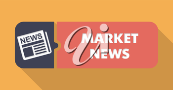 Market News Concept on Orange in Flat Design with Long Shadows.