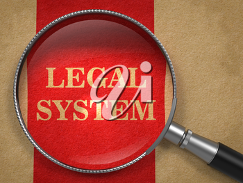 Legal System Concept. Magnifying Glass on Old Paper with Red Vertical Line Background.