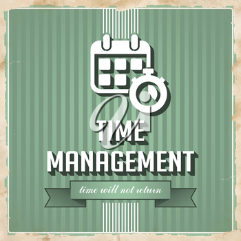 Time Management on Green Striped Background. Vintage Concept in Flat Design.