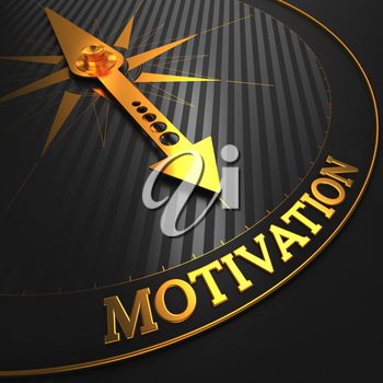 Motivation - Golden Compass Needle on a Black Field Pointing.