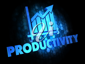 Productivity with Growth Chart - Blue Color Text on Dark Digital Background.