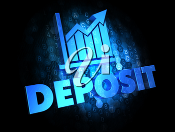 Deposit Concept - Blue Color Text on Dark Digital Background.