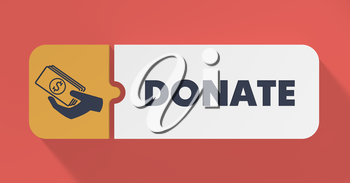 Donate Concept in Flat Design with Long Shadows.
