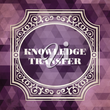 Knowledge Transfer Concept. Vintage design. Purple Background made of Triangles.