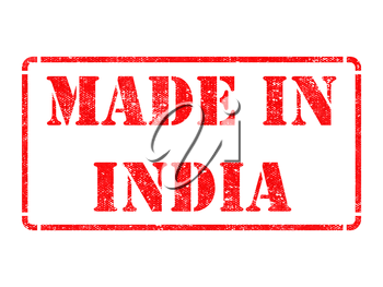 Made in India - inscription on Red Rubber Stamp Isolated on White.