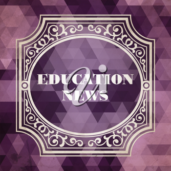 Education News  Concept. Vintage design. Purple Background made of Triangles.
