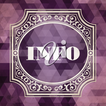 Info Concept. Vintage design. Purple Background made of Triangles.
