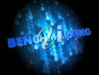 Benchmarking - Blue Color Text on Digital Background.