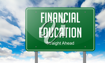 Highway Signpost with Financial Education wording on Sky Background.