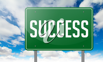Highway Signpost with Success wording on Sky Background.