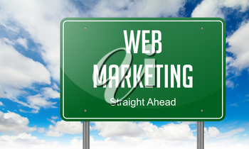 Highway Signpost with Web Marketing wording on Sky Background.