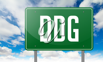 Highway Signpost with DDG wording on Sky Background.