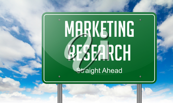 Marketing Research - Highway Signpost on Sky Background.