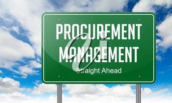 Highway Signpost with Procurement Management wording on Sky Background.
