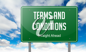 Highway Signpost with Terms and Conditions Wording on Sky Background.