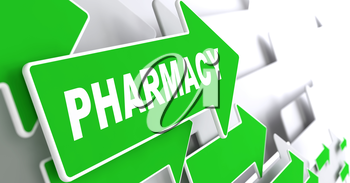 Pharmacy Branding on Direction Sign - Green Arrow on a Grey Background.