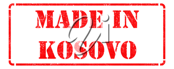 Made in Kosovo - Inscription on Red Rubber Stamp Isolated on White.