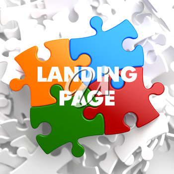 Landing Page  on Multicolor Puzzle on White Background.