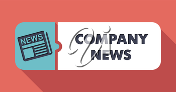 Company News Button in Flat Design with Long Shadows on Scarlet Background.