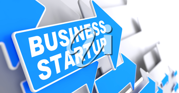 Business Startup on Direction Sign - Blue Arrow on a Grey Background.