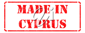 Made in Cyprus inscription on Red Rubber Stamp Isolated on White.