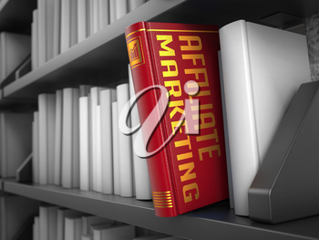 Affiliate Marketing - Red Book on the Black Bookshelf between white ones.