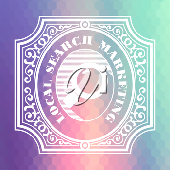Local Search Marketing Concept. Vintage design. Pastels Color Flow Hexagonal Background.