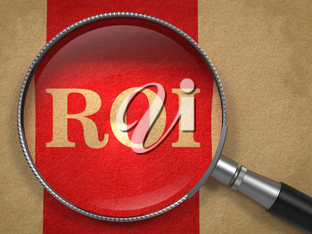ROI. Magnifying Glass on Old Paper with Red Vertical Line.