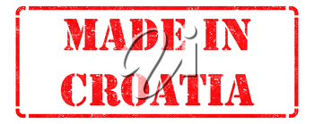 Made in Croatia - inscription on Red Rubber Stamp Isolated on White.