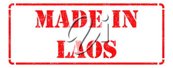 Made in Laos - inscription on Red Rubber Stamp Isolated on White.