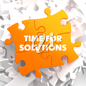 Time for Solutions on Orange Puzzle on White Background.