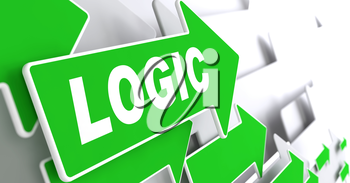Logic on Direction Sign - Green Arrow on a Grey Background.