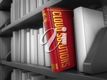 Cloud Solutions - Red Book on the Black Bookshelf between white ones. Internet  Concept.