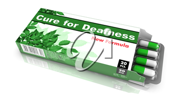 Cure for Deafness- Green Open Blister Pack Tablets Isolated on White.